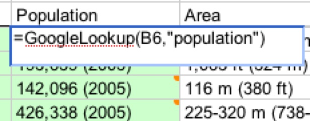 Lookup for population