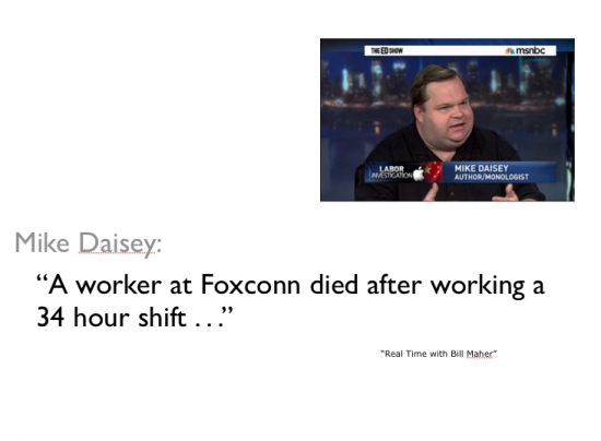 A worker at Foxconn died after working a 34 hour shift image of Daisey speaking