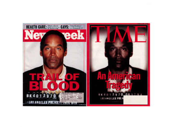 Contrasting OJ Simpson covers on Newsweek and Time
