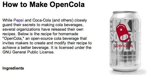 Open Cola for Science Experiments