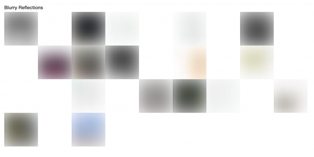Blurred image squares representing the first featured image of the blog posts.