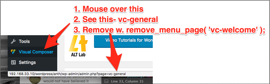 mouse over sidebar item to get name to remove in php