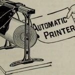An old newspaper ad showing an automatic printer.
