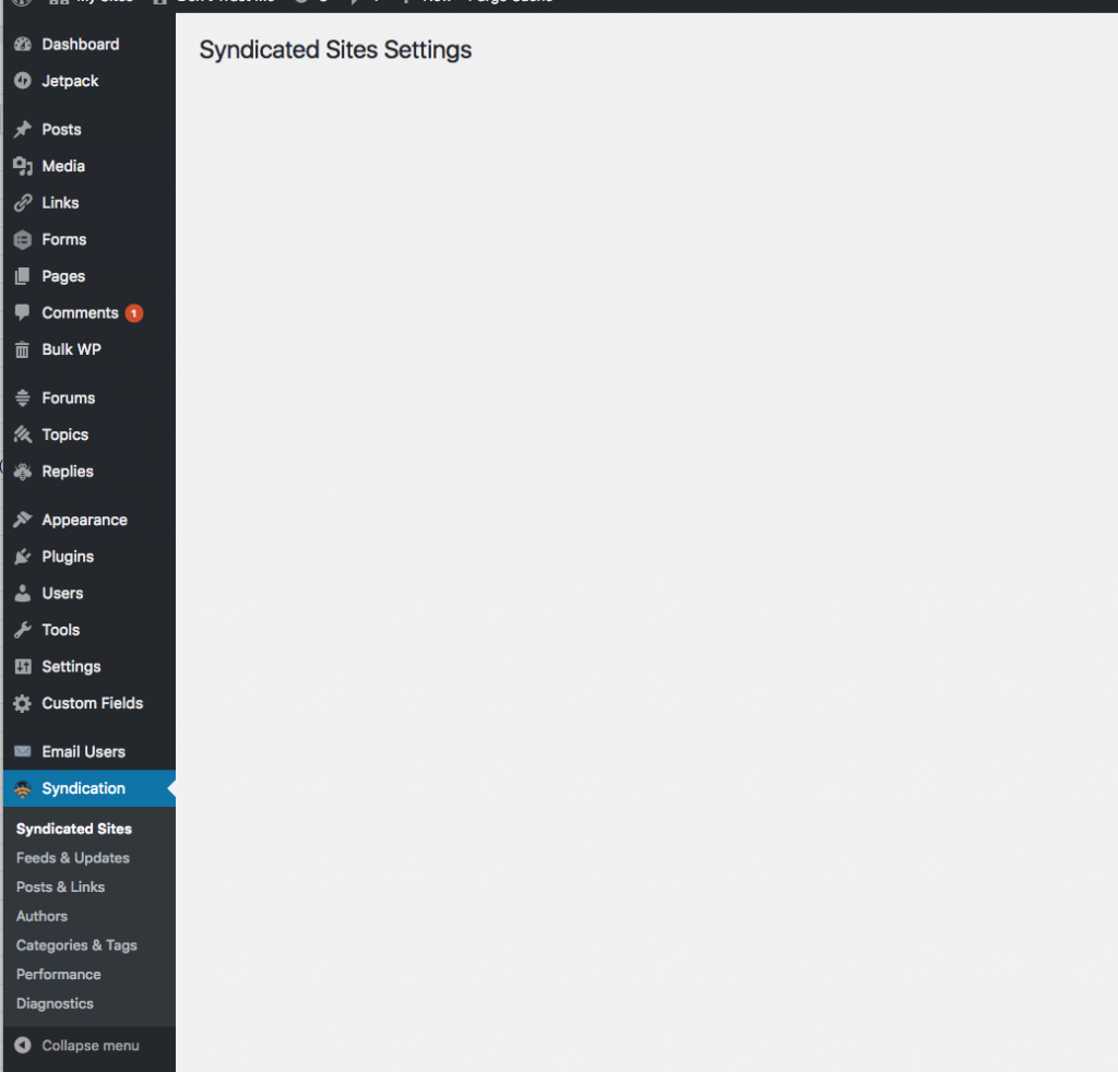 a feedwordpress screen that is empty of useful text that should show what feeds I have aggregating but doesn't