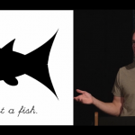 Bret Victor on the right with a black and white cartoon fish on the left. Under the fish is the statement - This is not a fish.