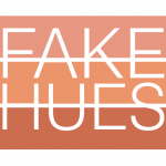 Three rows of orange-ish colors with the text 'fake hues' over the top of them in white.