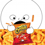 cartoon face eating cheetos.