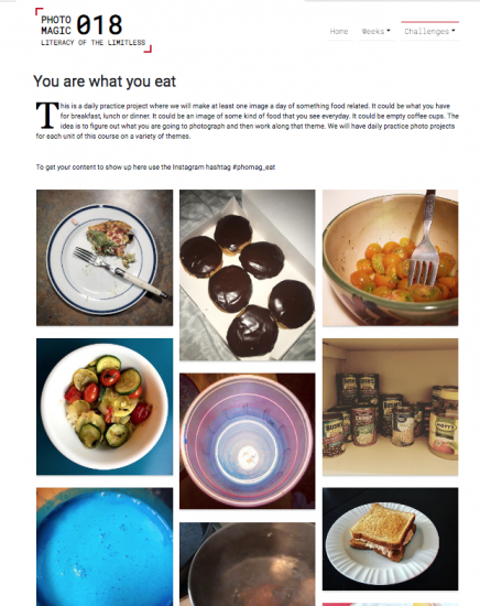 A variety of instagram photos from the phomag_eats hashtag are in a masonry layout.