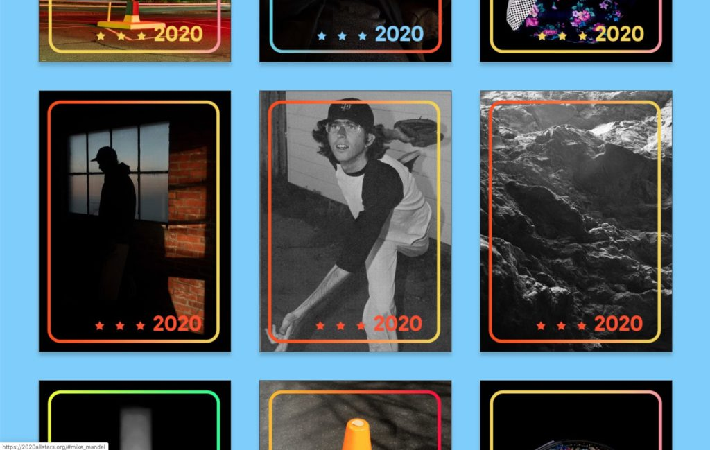 A screenshot of the art-based baseball cards.