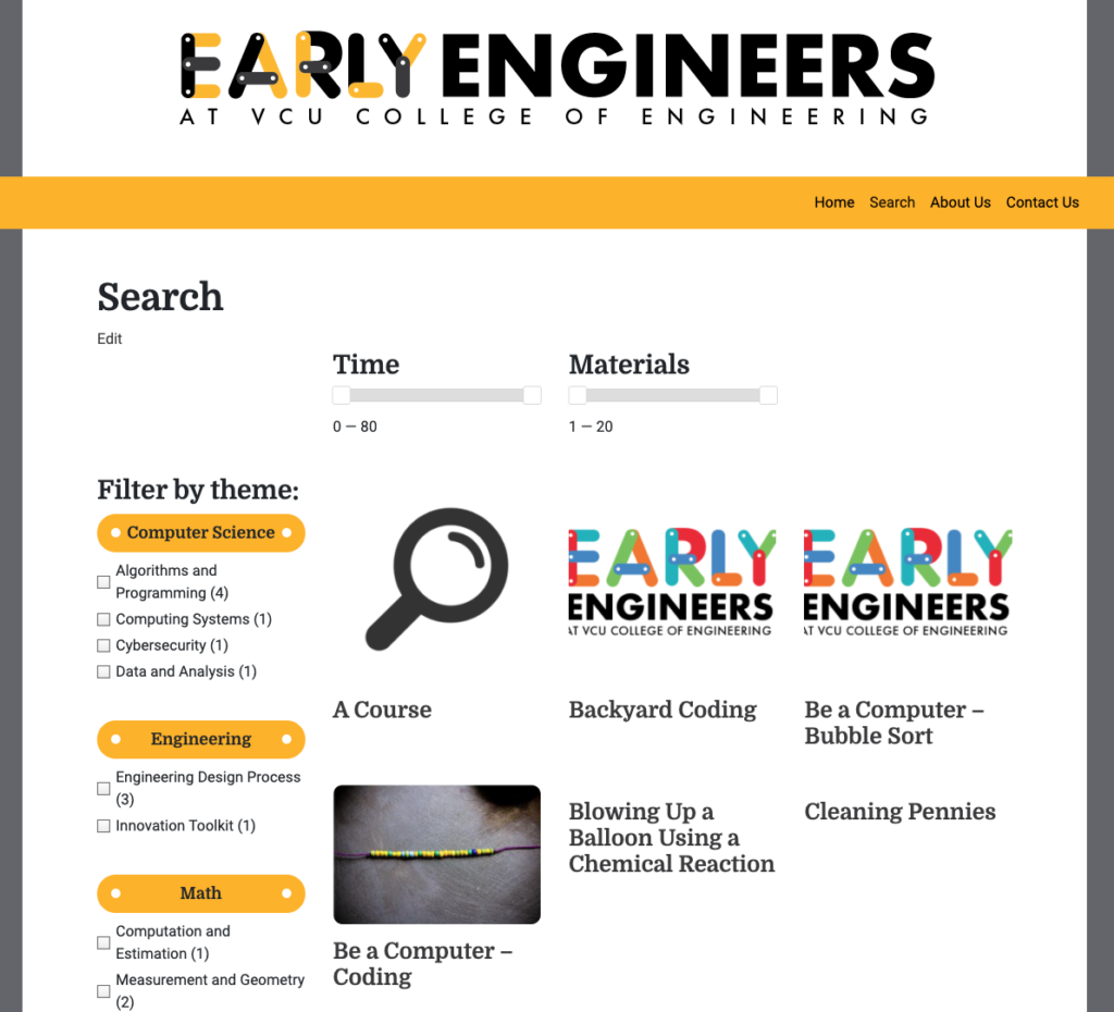 Facet WP search page for early engineering site.