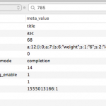 MySql table screenshot showing a variety of metafields populated.