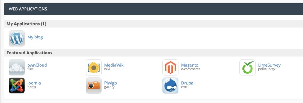 cPanel view showing ownCloud, MediaWiki, Megento, LimeSurvey, Joomla, Piwigo, and Drupal.